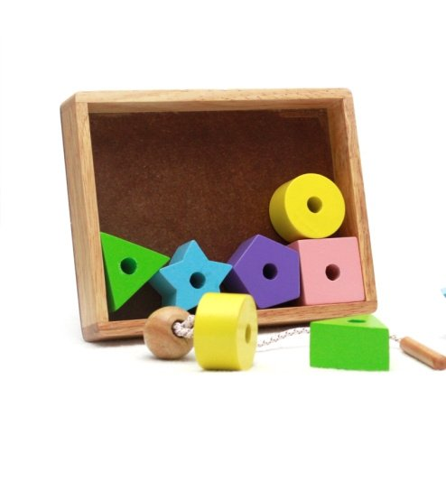 Threading Beads -Wooden Toy- Cloured