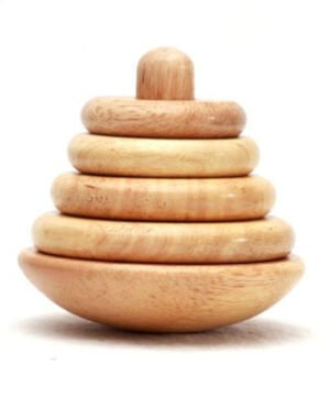 Wooden Ring Tower - 4 Rings - Wood Finish